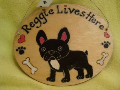 Personalised Puppy Dog Kennel Bed Run Wooden Oval Sign Personalised Any Breed /Colouration Phrasing Boston Bull Terrier